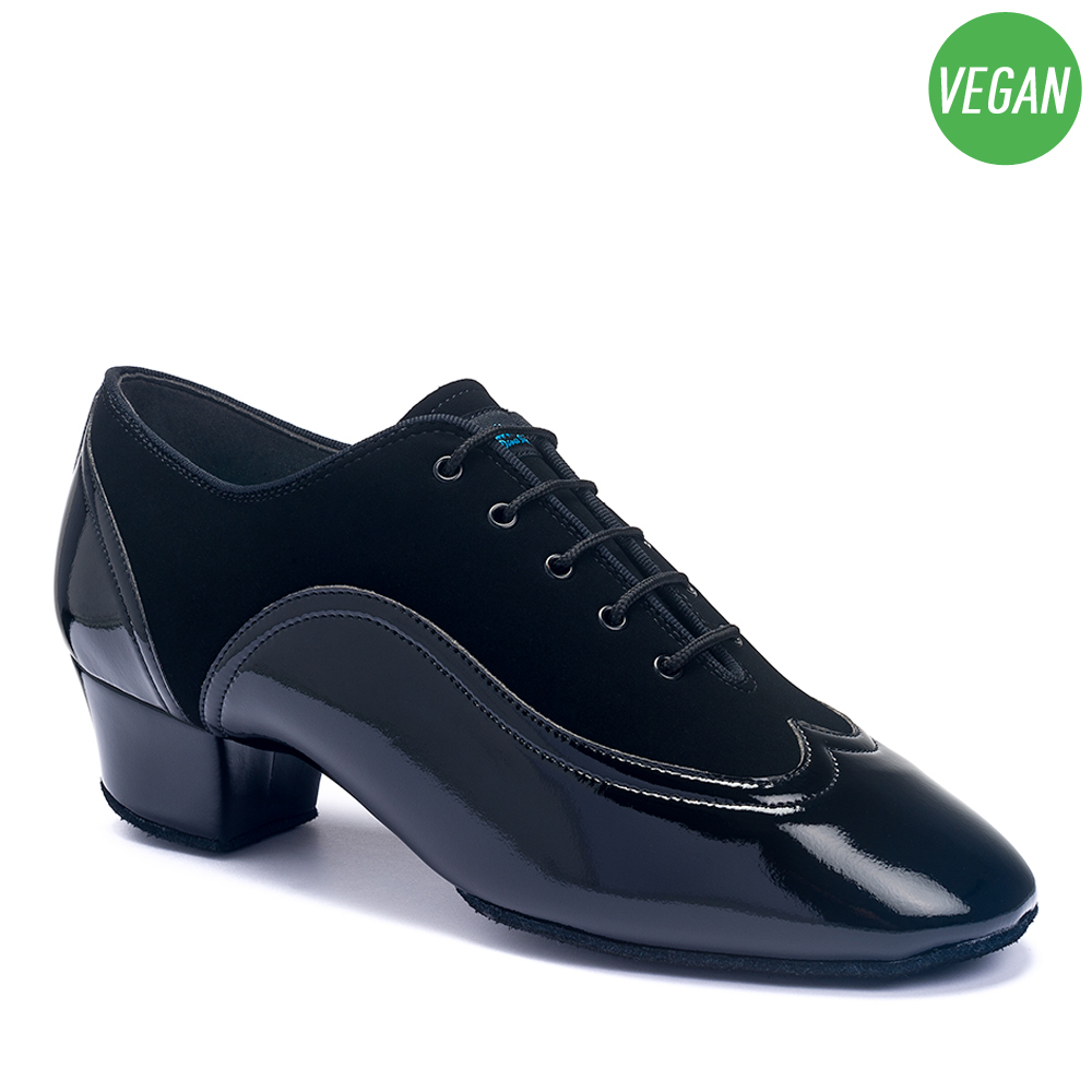 BRAND NEW MEN/'S BLACK PATENT FAUX LEATHER BALLROOM DANCE SHOES WITH SUEDE SOLES